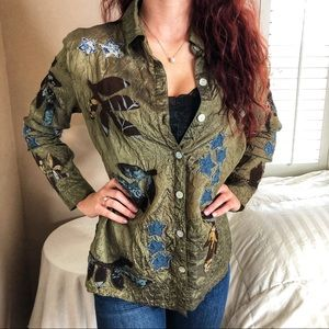 3 LEFT XS-M Embroidered Olive Green Denim Star Top